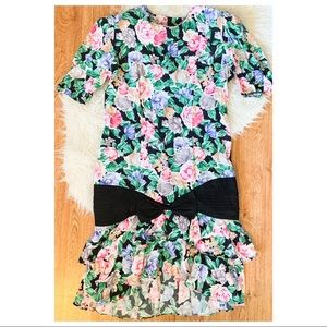 80s Vintage Floral Mermaid Ruffle Dress L